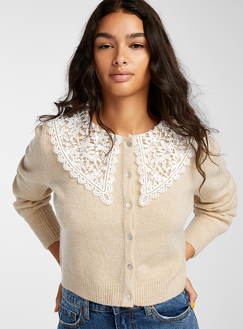 Only Cream Beige Lace mega-collar cardigan for women