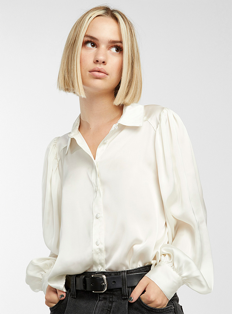 Only White Puff-sleeve satiny blouse for women