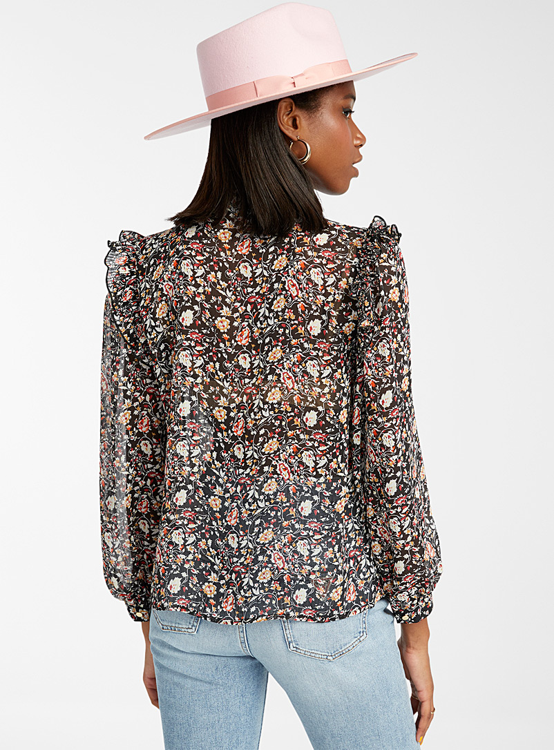 Only Patterned Black Autumn flowers ruffled blouse for women