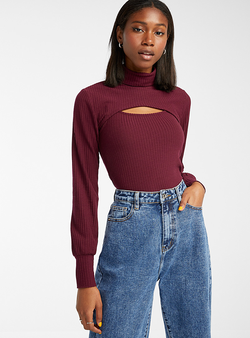 Only Ruby Red Cropped turtleneck and camisole set for women