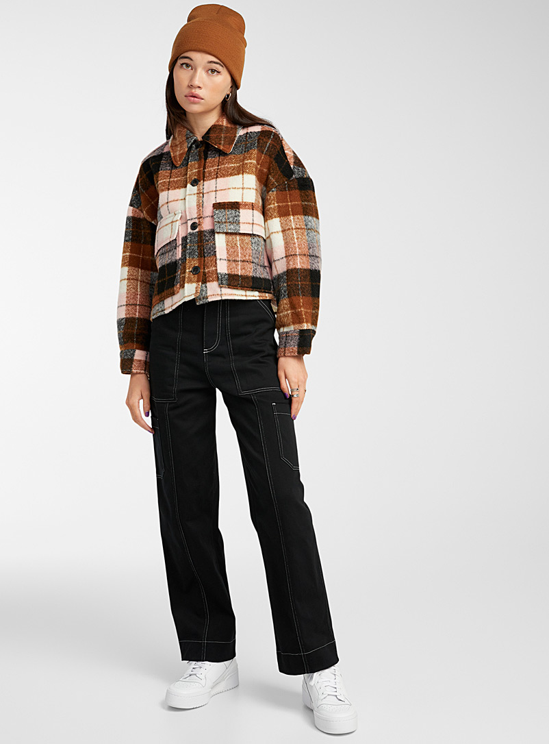 Only Patterned Brown Neapolitan check overshirt for women