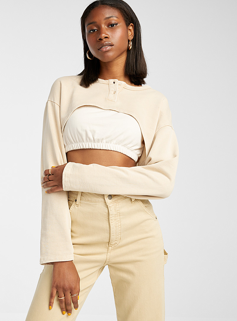 Only Sand Cropped buttoned sweatshirt for women