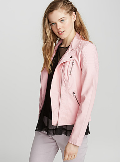 Topstitch shoulder biker jacket