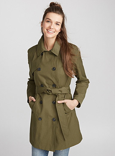 Satiny cotton trench coat