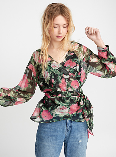 Painterly flower crossover blouse
