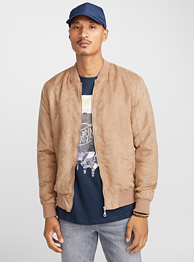 Perforated faux-suede bomber jacket