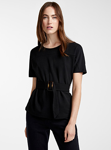 Belted stretch crepe blouse