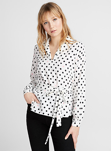 Fitted ribbon-waist dot blouse