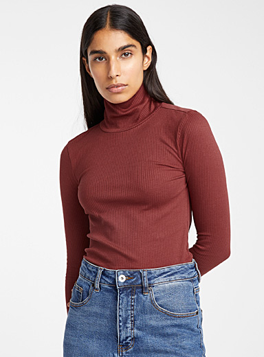 Organic cotton ribbed mock neck