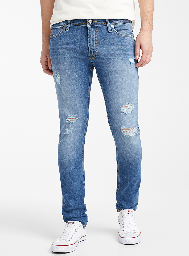 Jack & Jones Blue Distressed faded-blue jean  Super skinny fit for men