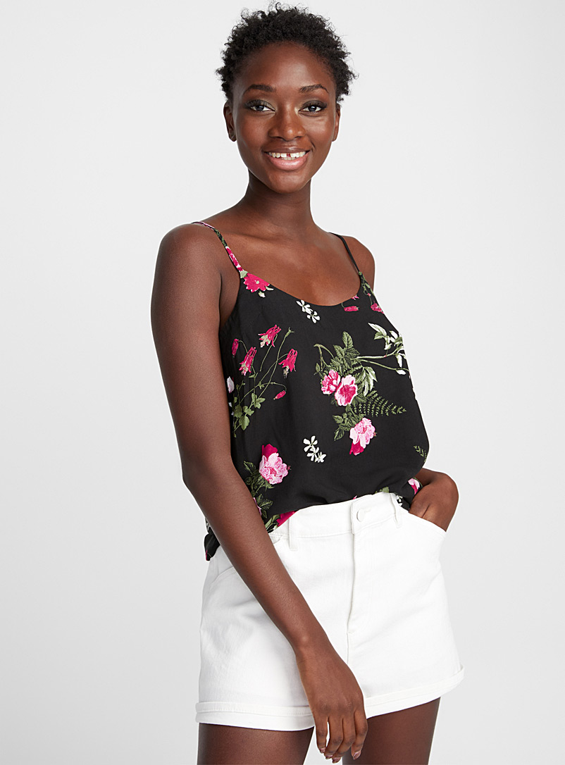 Roses and peonies cami - Blouses - Patterned Black