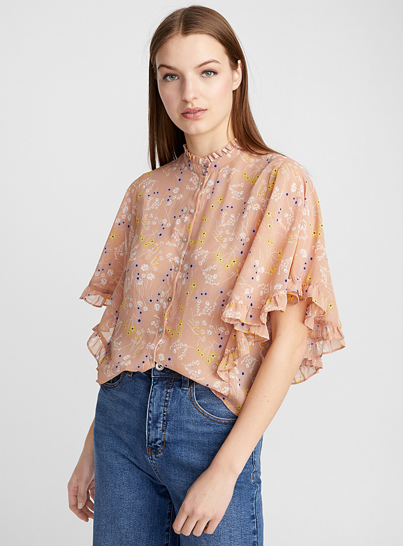 Ruffled floral blouse - Blouses - Patterned Brown