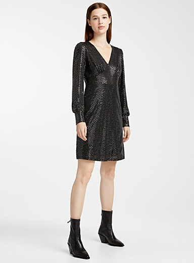 Black shimmery dot dress