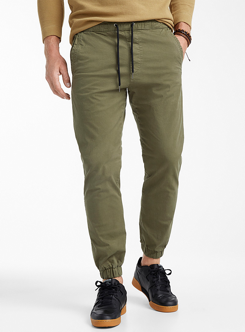 Khaki cotton fabric joggers - Joggers - Mossy Green