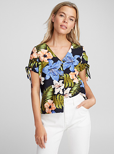 Tropical night linen shirt