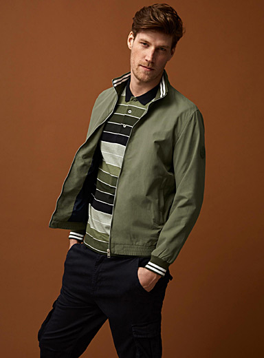 Striped edge nylon jacket