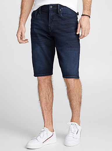 Indigo denim terry-lined Bermudas