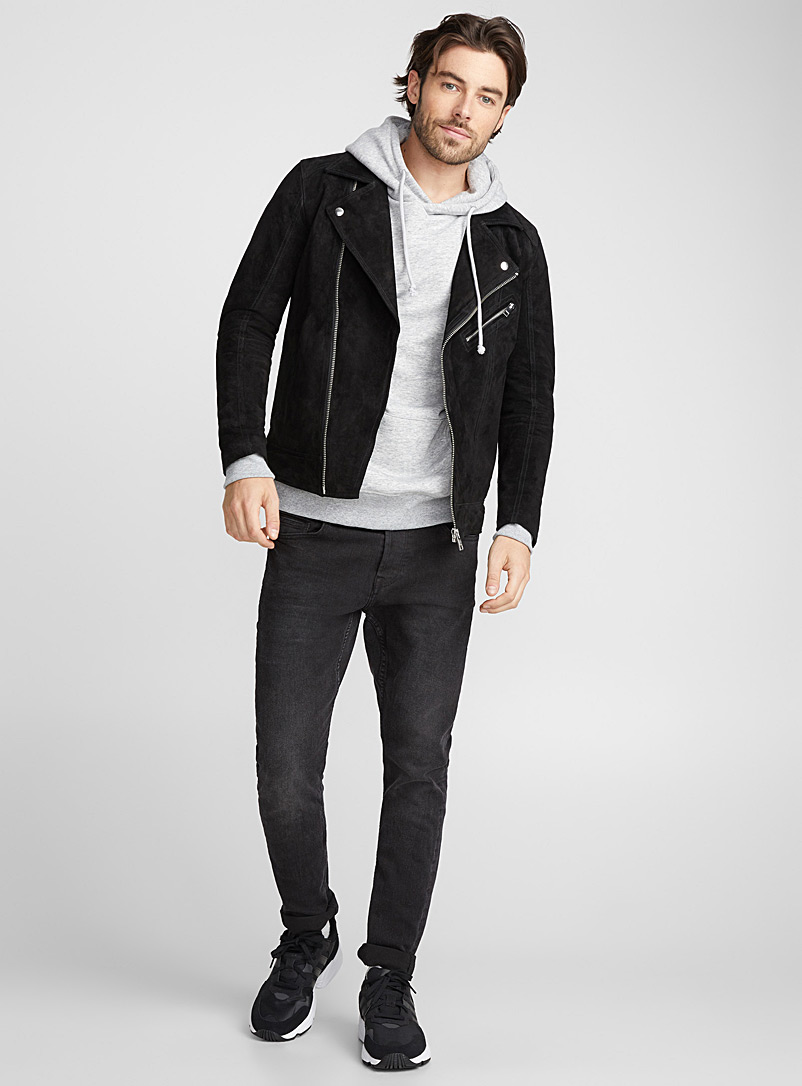 Jack & Jones Black Monochrome suede biker jacket for men