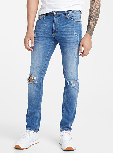 Torn blue jean  Slim fit