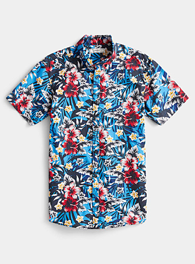 Le 31 Blue Tropical flower shirt for men