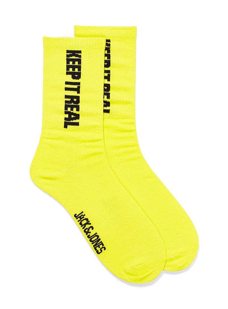 Jack & Jones Golden Yellow Neon ribbed socks for men