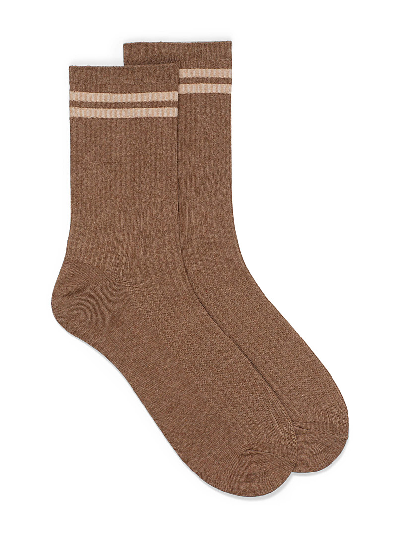 Jack & Jones Light Brown Tennis stripe ribbed socks for men