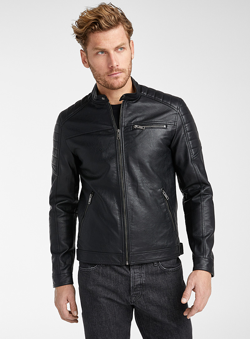 Jack & Jones Black Grained faux-leather biker jacket for men