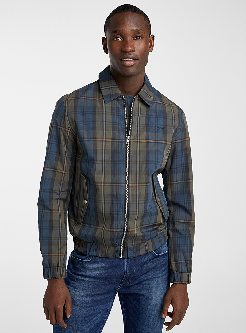 Jack & Jones Patterned Blue Check Harrington jacket for men