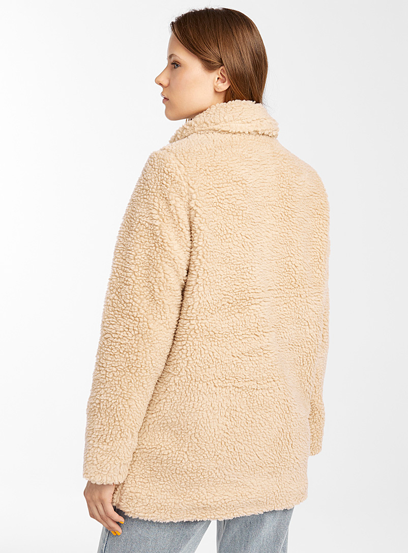 Only Cream Beige Loose sherpa overshirt for women