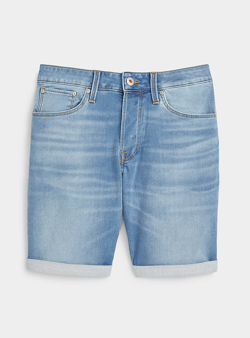 Jack & Jones Blue Faded knit jean short for men