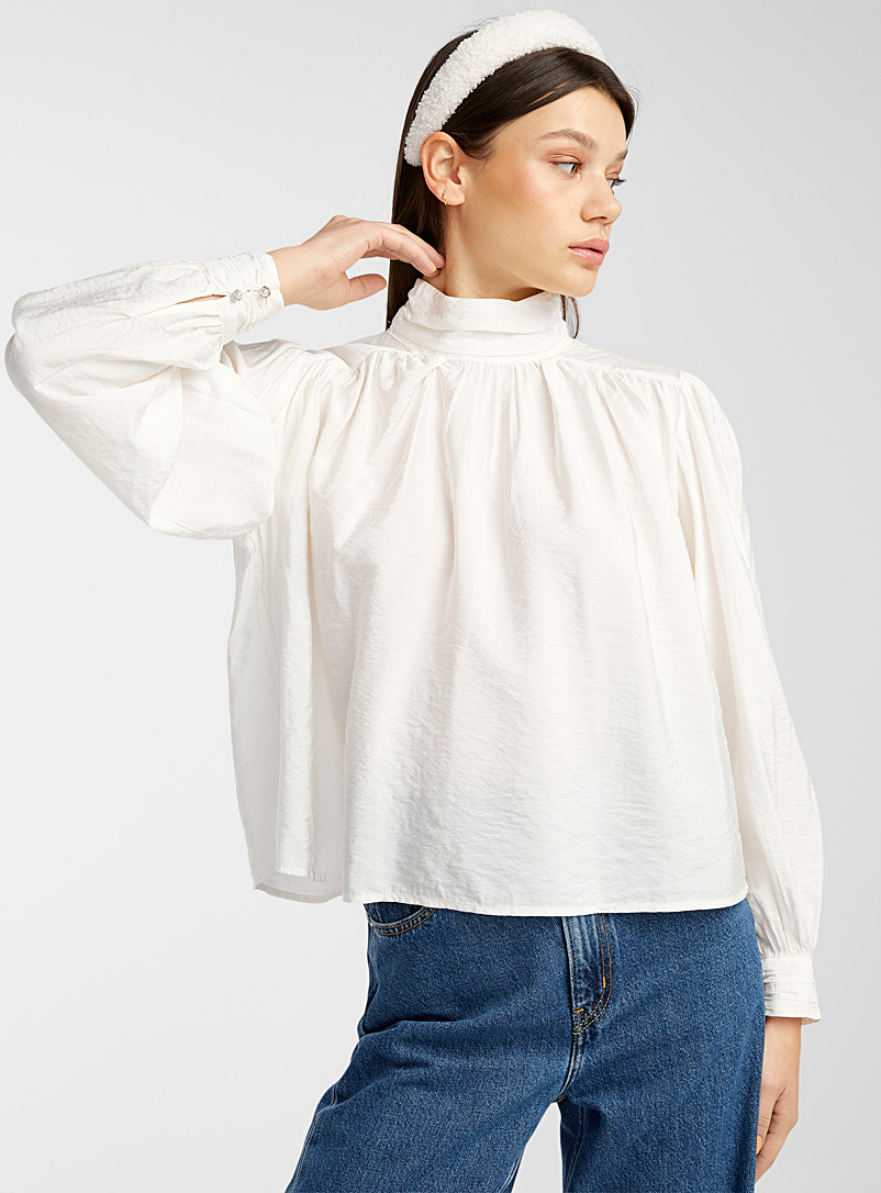 Only Ivory White Jewel-button pleated mock-neck blouse for women