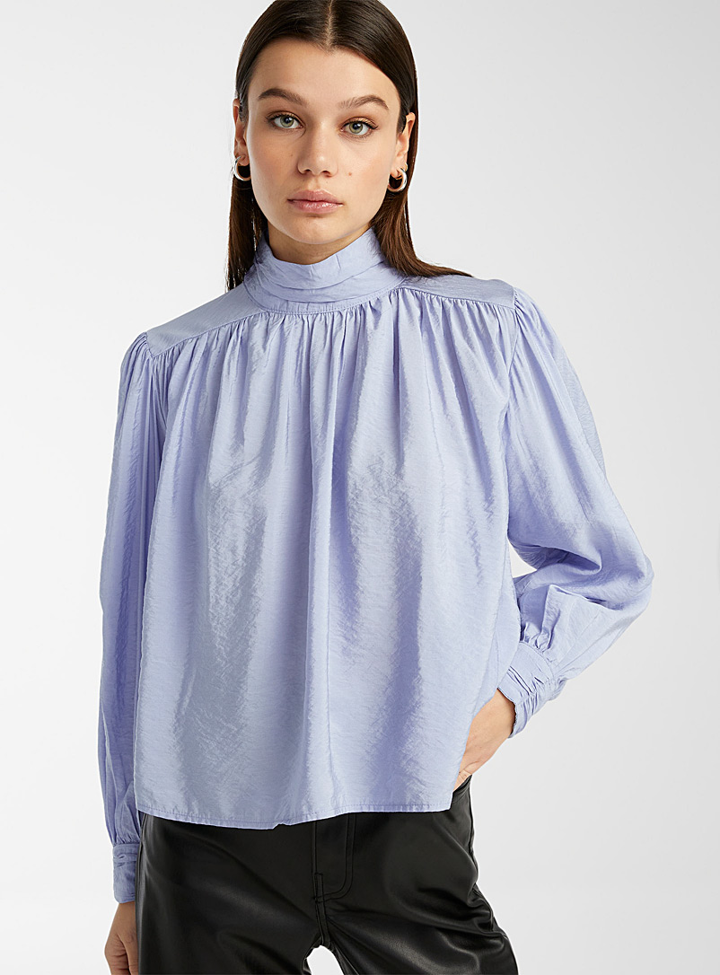 Only Baby Blue Jewel-button pleated mock-neck blouse for women