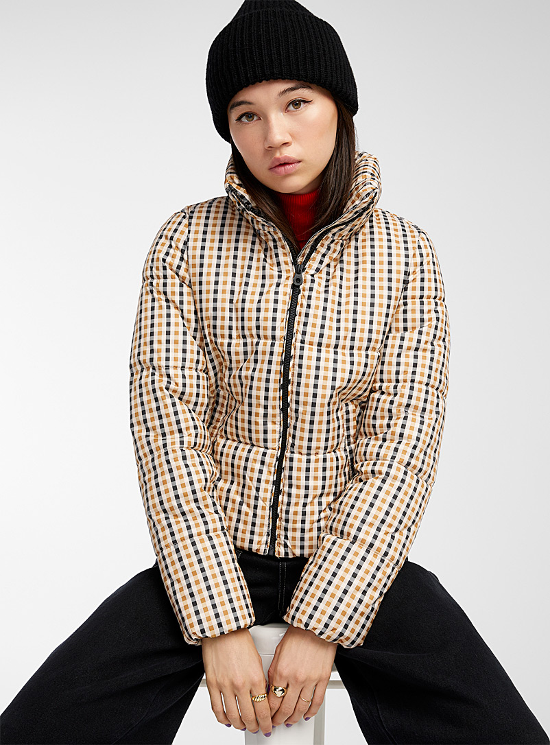 Only Patterned Ecru Check puffer coat for women