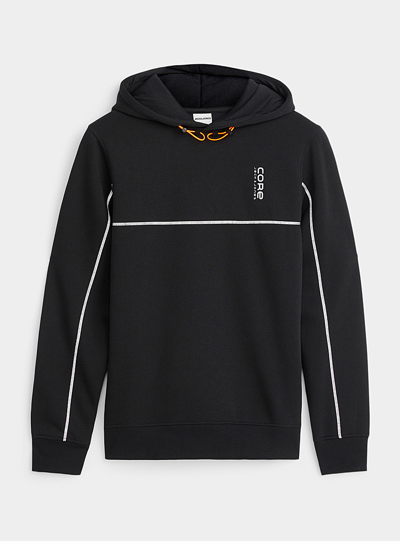 Jack & Jones Black Reflective accent hooded sweatshirt for men