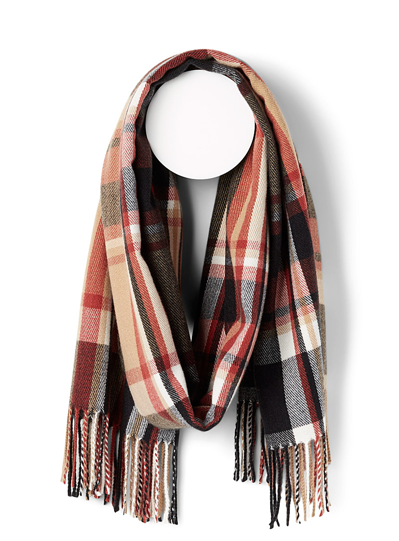 Only Patterned Brown Cozy check scarf for women