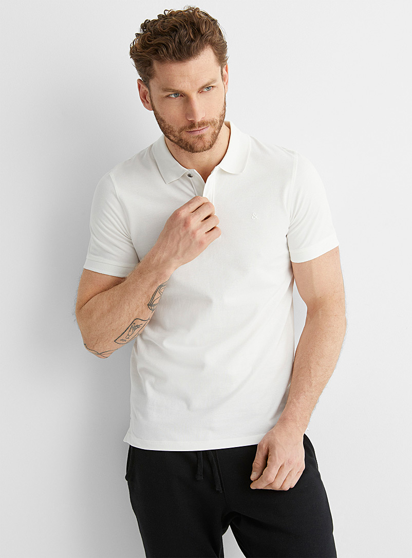 Jack & Jones Ivory White Faded accent polo for men