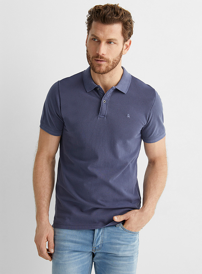 Jack & Jones Marine Blue Faded accent polo for men