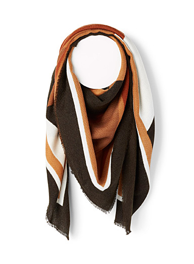 Only Patterned Brown Natural geometric scarf for women