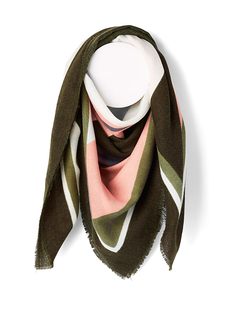 Only Patterned Green Natural geometric scarf for women