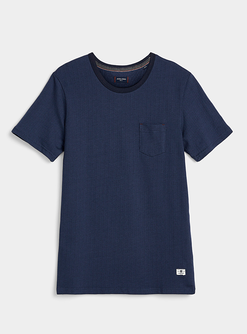 Jack & Jones Marine Blue Jacquard patterns T-shirt for men