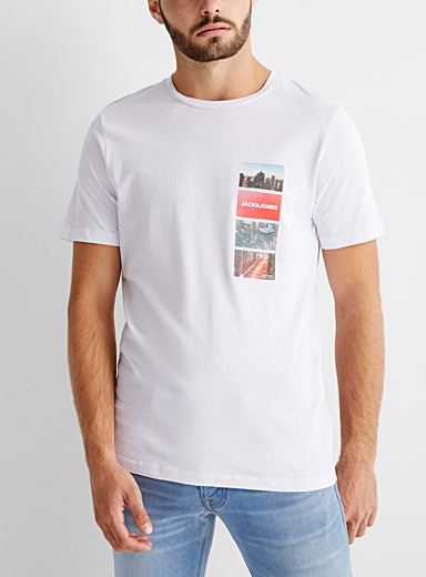 Jack & Jones White Urban mosaic T-shirt for men