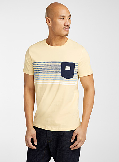 Jack & Jones Golden Yellow Heathered stripe T-shirt for men