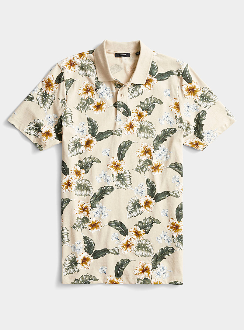 Jack & Jones Ivory White Tropical floral polo for men