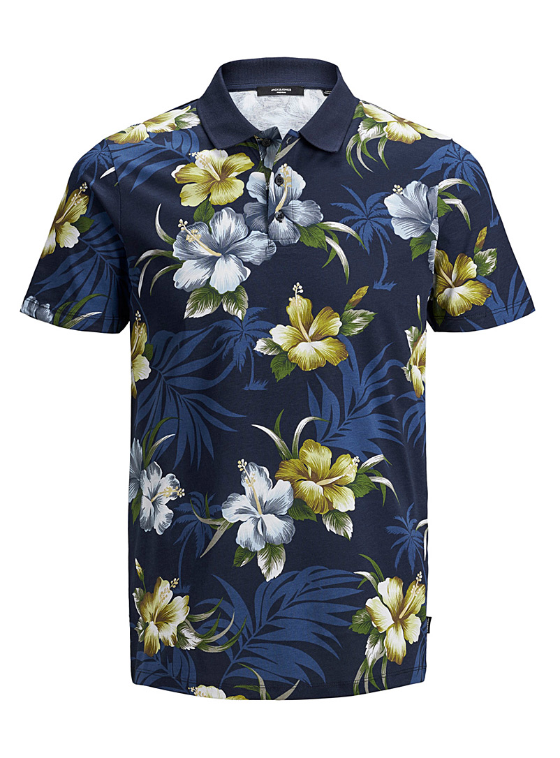 Jack & Jones Dark Blue Tropical floral polo for men