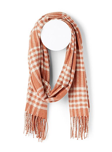Vero Moda Patterned Orange Recycled polyester check scarf for women