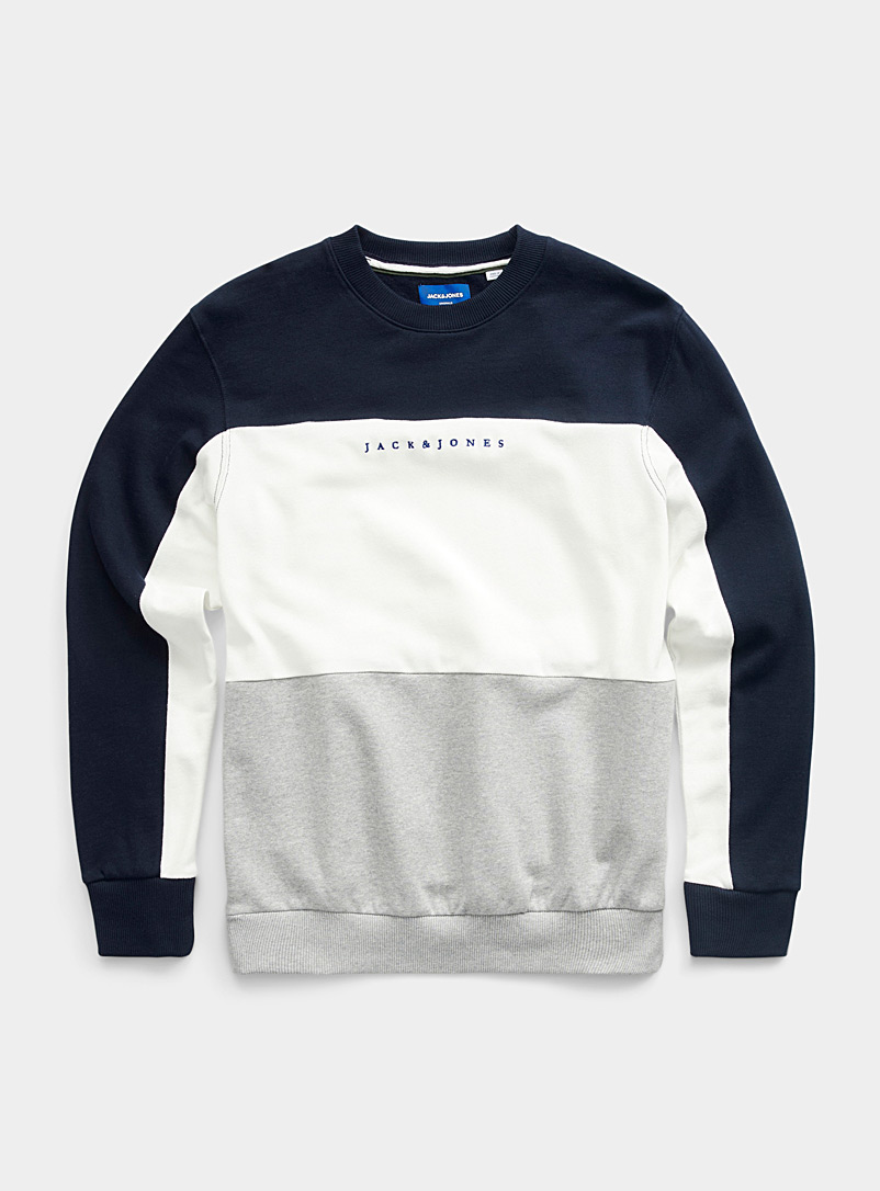 Jack & Jones Marine Blue Piqué colour block sweatshirt for men