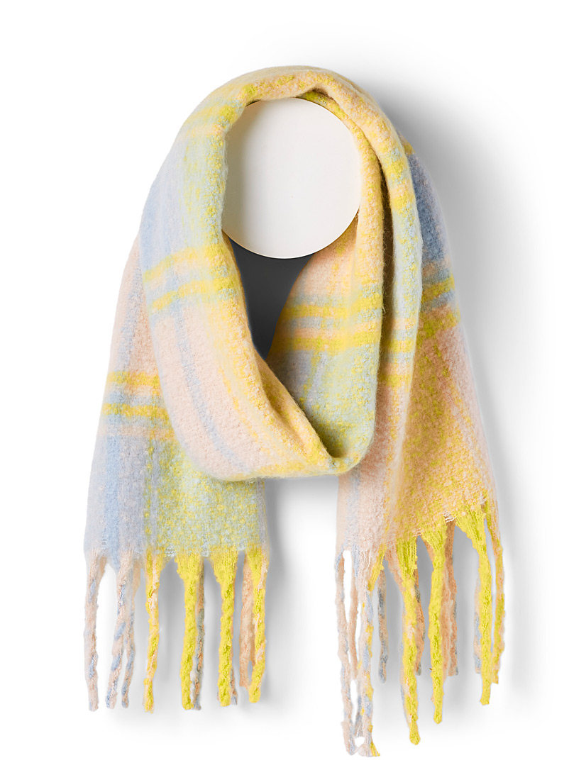 Only Patterned White Mega-check bouclé scarf for women