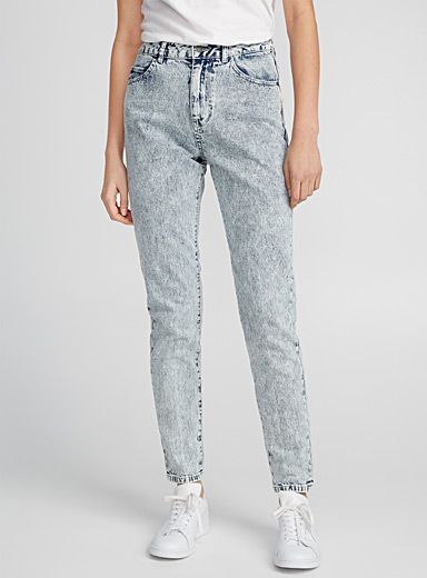 High-waist acid wash jean