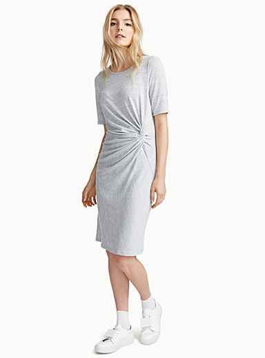 Heathered draped-waist dress