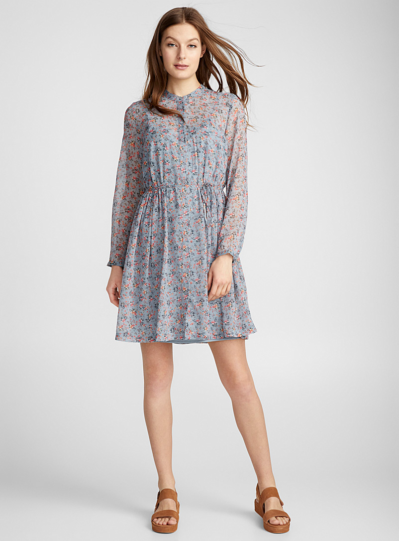 Romantic chiffon dress - Shirt Dresses - Patterned Blue